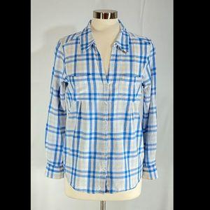 Joie Blue White Plaid Button Front Shirt!